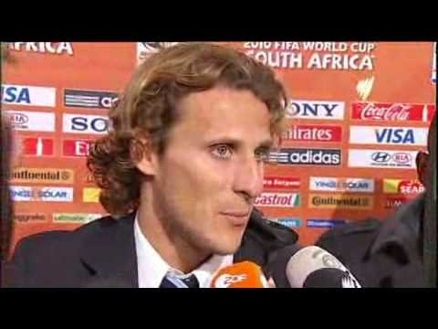English interview with Uruguay's Diego Forlan after the loss to Holland at the 2010 World Cup