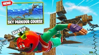 NEW SKY PARKOUR COURSE In Fortnite! | Fortnite Playground W/ Lazarbeam, MrMuselk, And Vikkstar123