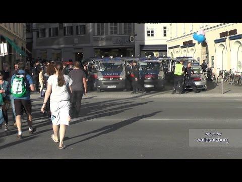 Polizeigroßaufgebot in Salzburg [Zusammenschnitt] - Red Bull Salzburg vs FC Basel 20.03.2014