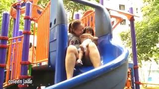 Baby and mommy at the playground