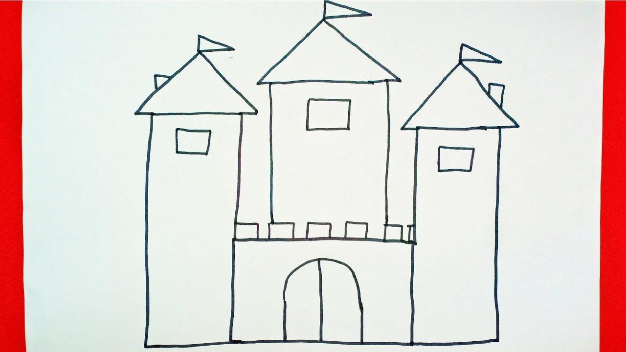 THỦ CÔNG BẰNG GIẤY CHO BÉ | Vẽ lâu đài đơn giản nhất | Draw for kids