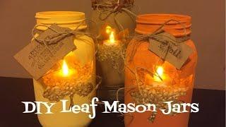 Diy Leaf Mason Jars Pinterest Inspired