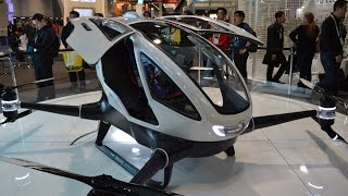 First passenger drone. Ehang 184 UAV. Manned drone. Drone for people