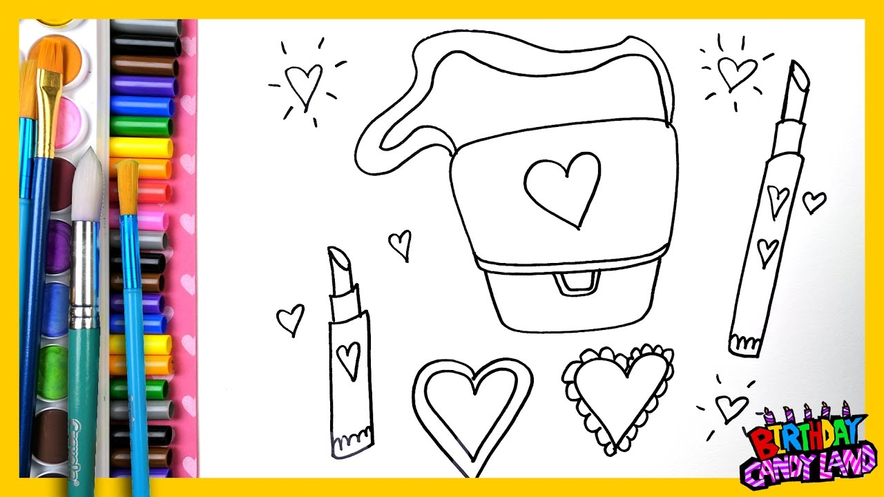 draw color and paint with markers purse lipstick heart coloring pages for kids children