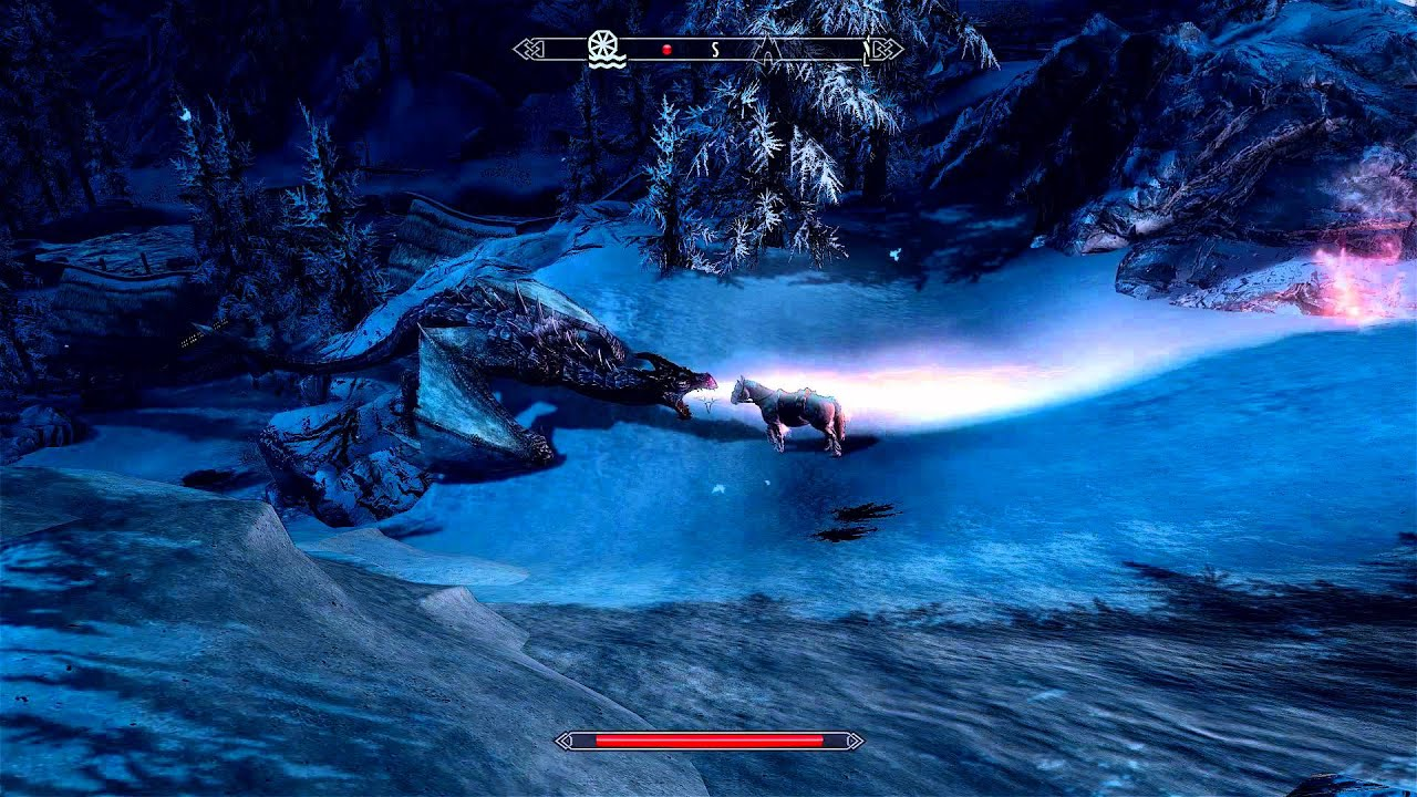 Skyrim - Frost the Horse vs Dragon