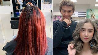 hướng dẫn bốc tóc màu đỏ chuyển qua khói mới nhất, đẳng cấp,hùng đông tinh hair
