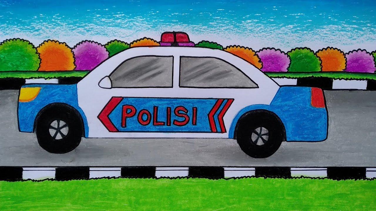 Menggambar Mobil Polisi Cara Menggambar Dan Mewarnai Mobil Youtube