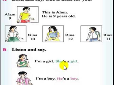 Class 2 : English : Unit 1 : Lesson 4 –  He's …. / She's ….