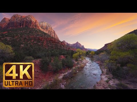 4K (Ultra HD) Relaxation Video - 2 HRS River Sounds | Virgin River at Zion National Park - Part 1
