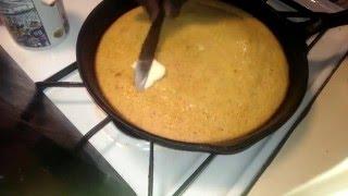 Making cornbread with fresh-ground corn meal