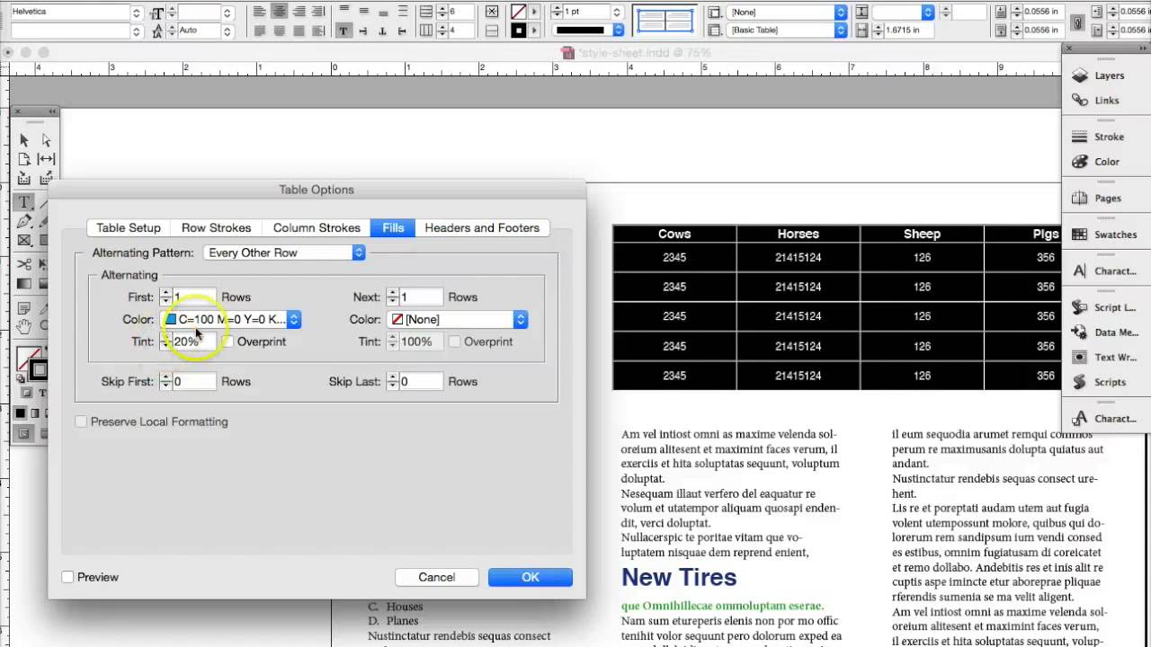 Indesign tutorial adding tables and table styles youtube for Indesign table