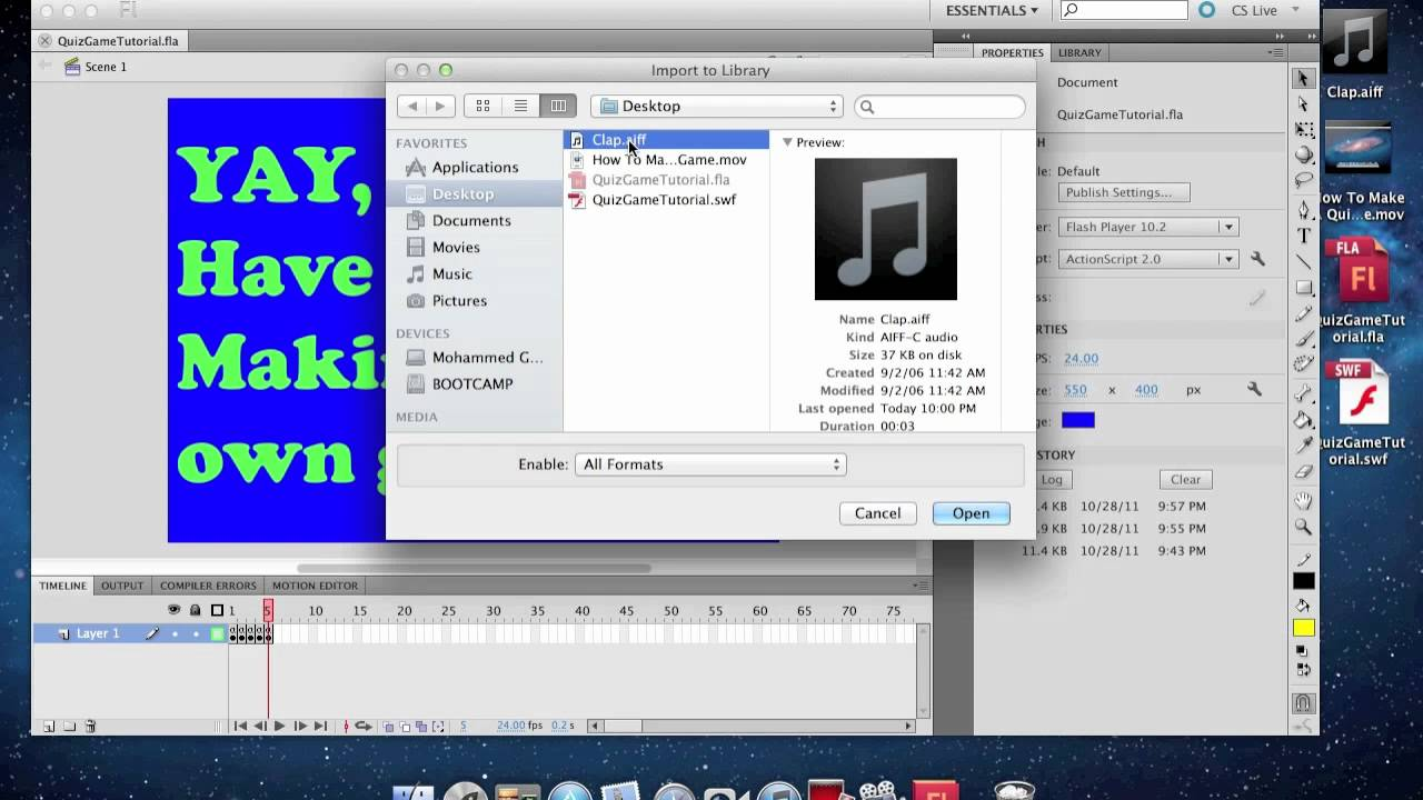 How to Add Sound in Adobe Flash CS5 - YouTube