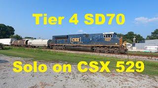 Single Rare CSX SD70ACe-T4 / ST70AH Pulls CSX 529 in Athens