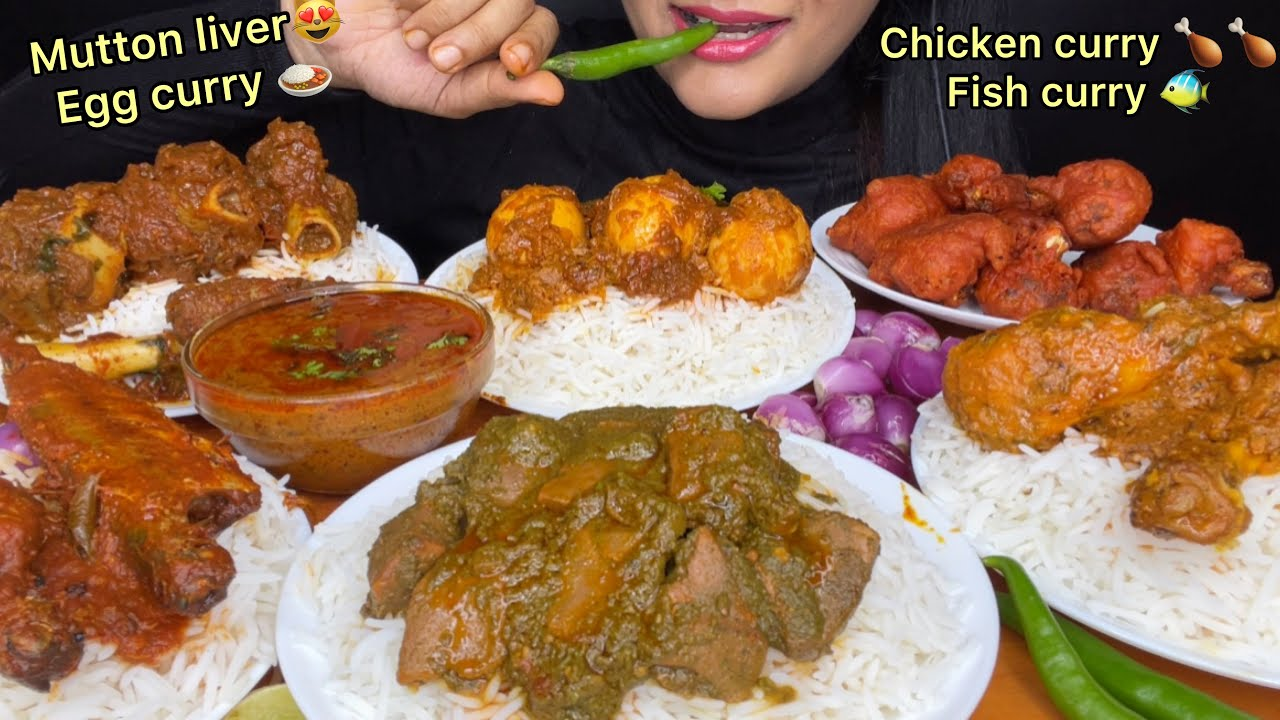 ASMR:HUGE LUNCH EATING MUTTON CURRY,CHICKEN CURRY,MUTTON LIVER CURRY,EGG CURRY FISH CURRY