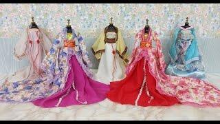 एल्स और अन्ना गुड़िया के साथ बार्बी गुड़िया एशियाई शैली की पोशाक Ba...