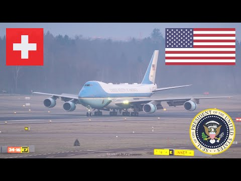 Air Force One POTUS TRUMP Arrives Zurich Switzerland For WEF & SAM    21 January 2020 [4K]
