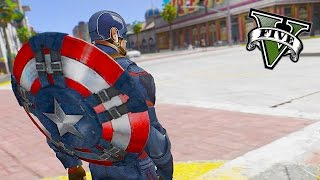 GTA 5 PC - Captain America ! Mighty Shield Charge ! (Captain America Mod Gameplay)🏃🛡