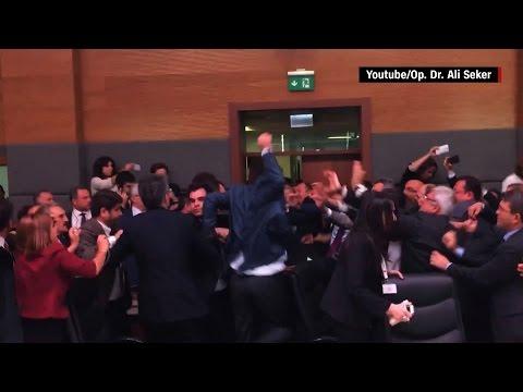 Brawl in Turkish Parliament