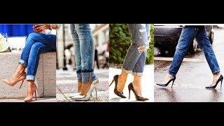 Boyfriend jeans with heels