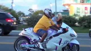 White Sports Bike with Purple Neon Lights