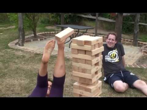 foot giant jenga lol funny game youtube