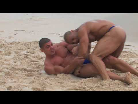 Muscleboys Wrestling On The Beach