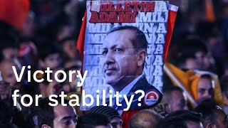 Turkey's President Erdogan celebrates shock majority win