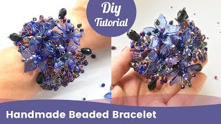How to Make Beaded Bracelet with Crystals, Beads and Wire. DIY Craft Ideas.
