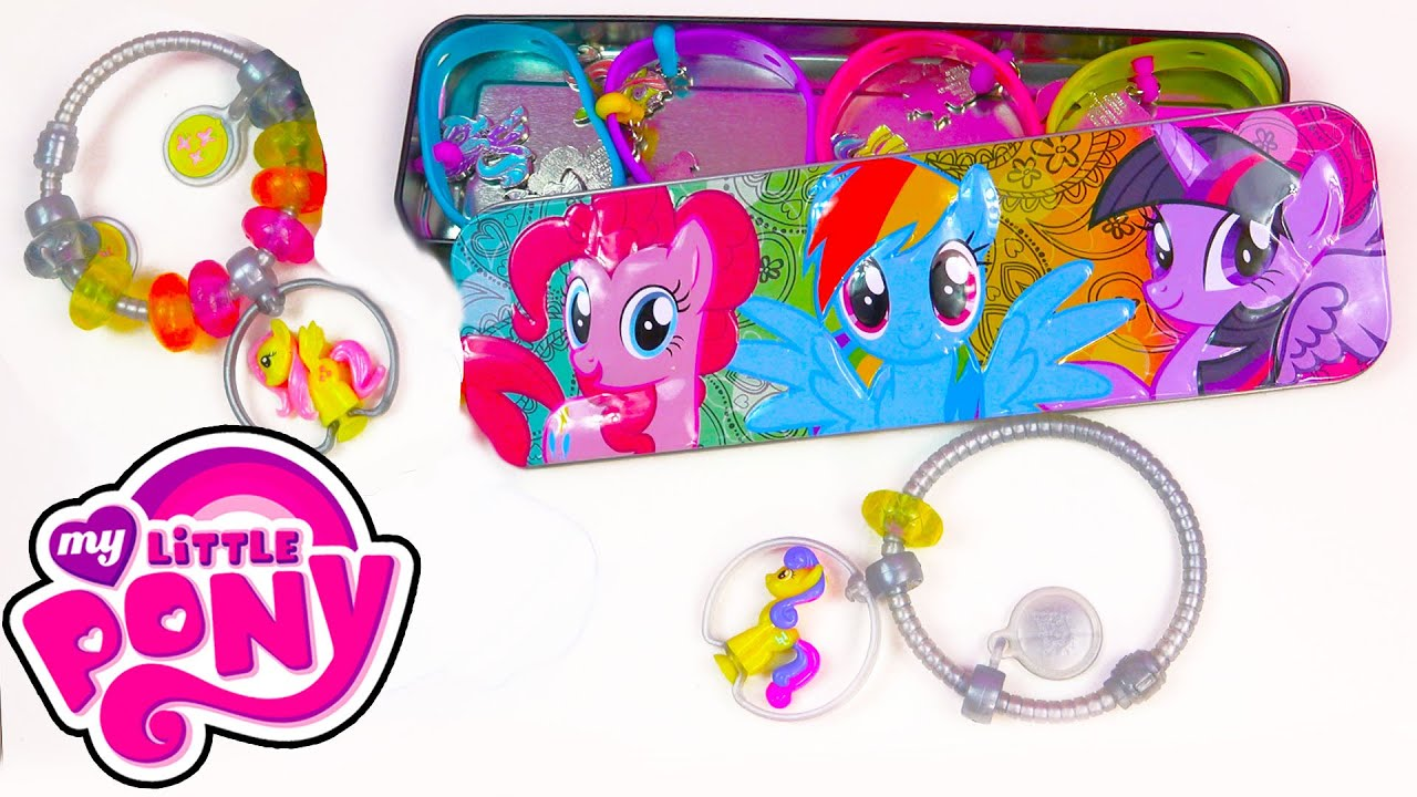 Toys R Us My Little Pony Squishy Pops : My Little Pony Case Tin Charmlings and Bracelet MLP Squishy Pops Jewelry Toy Holder Unboxing ...