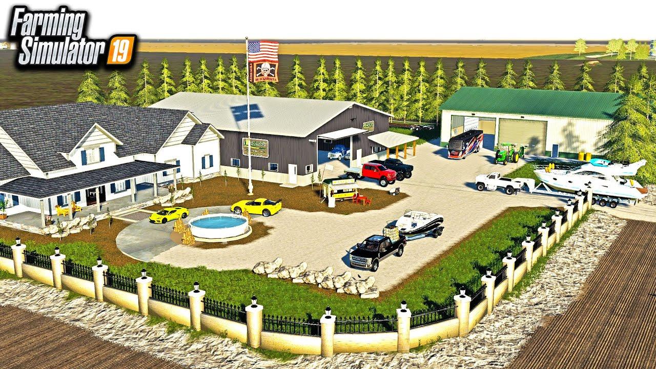 REDNECK $2,000,000 HOUSE BUILD! (NEW SHOP & CARS) | FARMING SIMULATOR 2019