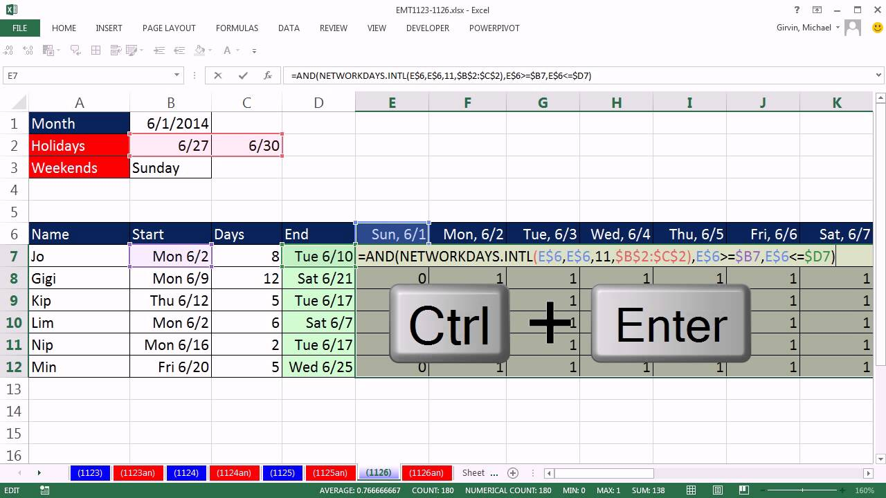How to make a vacation chart in excel  with database