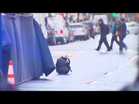 Boston Marathon Finish Line Evacuated 2014 - Masked Man Drops Backpack