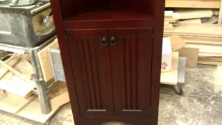 Custom Birch Corner Cabinet Finished Cranberry Red