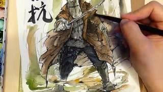 Ned Kelly Sumi Ink and Watercolor process