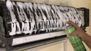 Air Conditioner Cleaning Indoor and Outdoor Unit Using Nu-Calgon Coil Cleaner