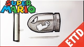 How to Draw Bullet Bill from Super Mario Bros - Easy Things To Draw