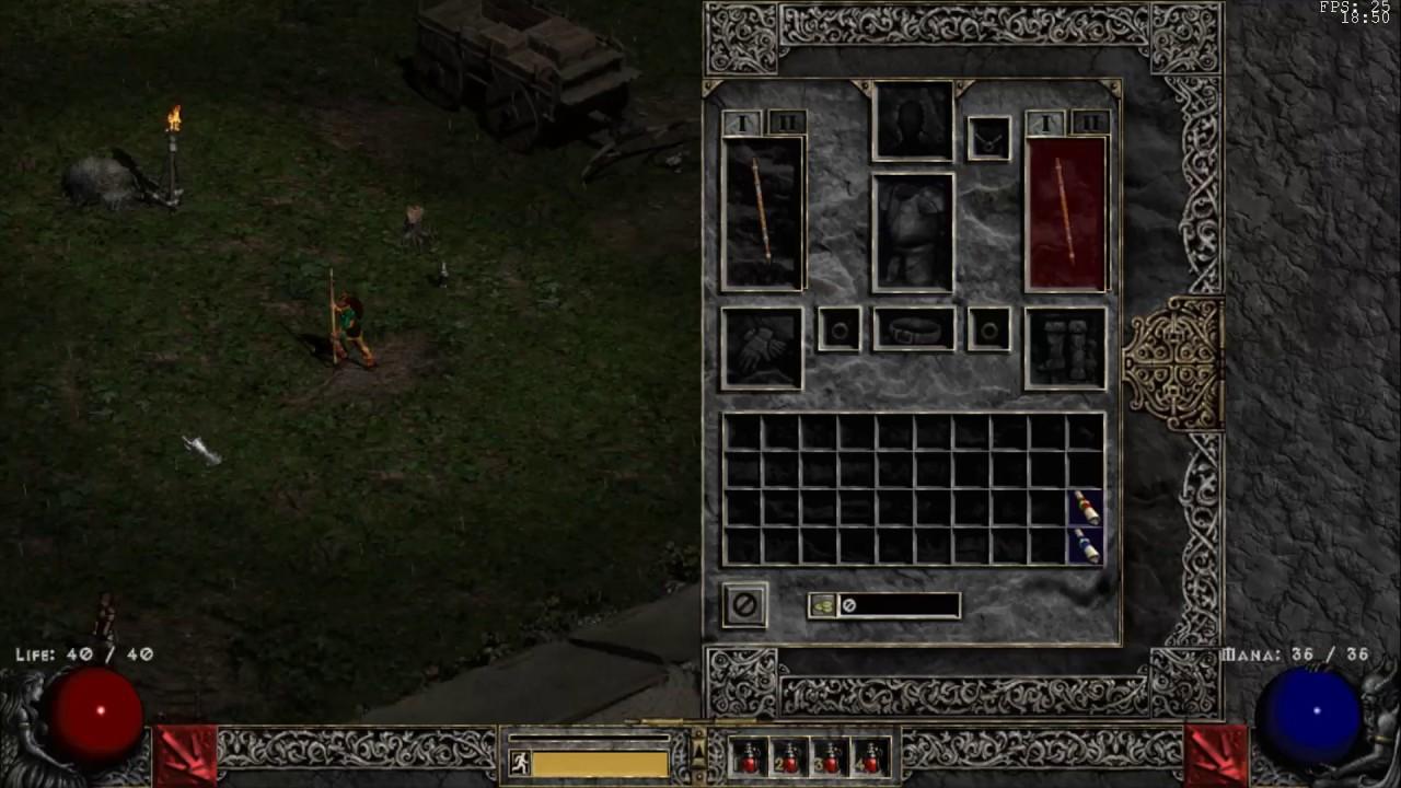 Diablo II - Running on Glide HD 1066x600 (Test 2)