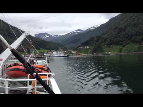 Crossing the Geirangerfjord by Car Ferry, from Eidsdal to Linge