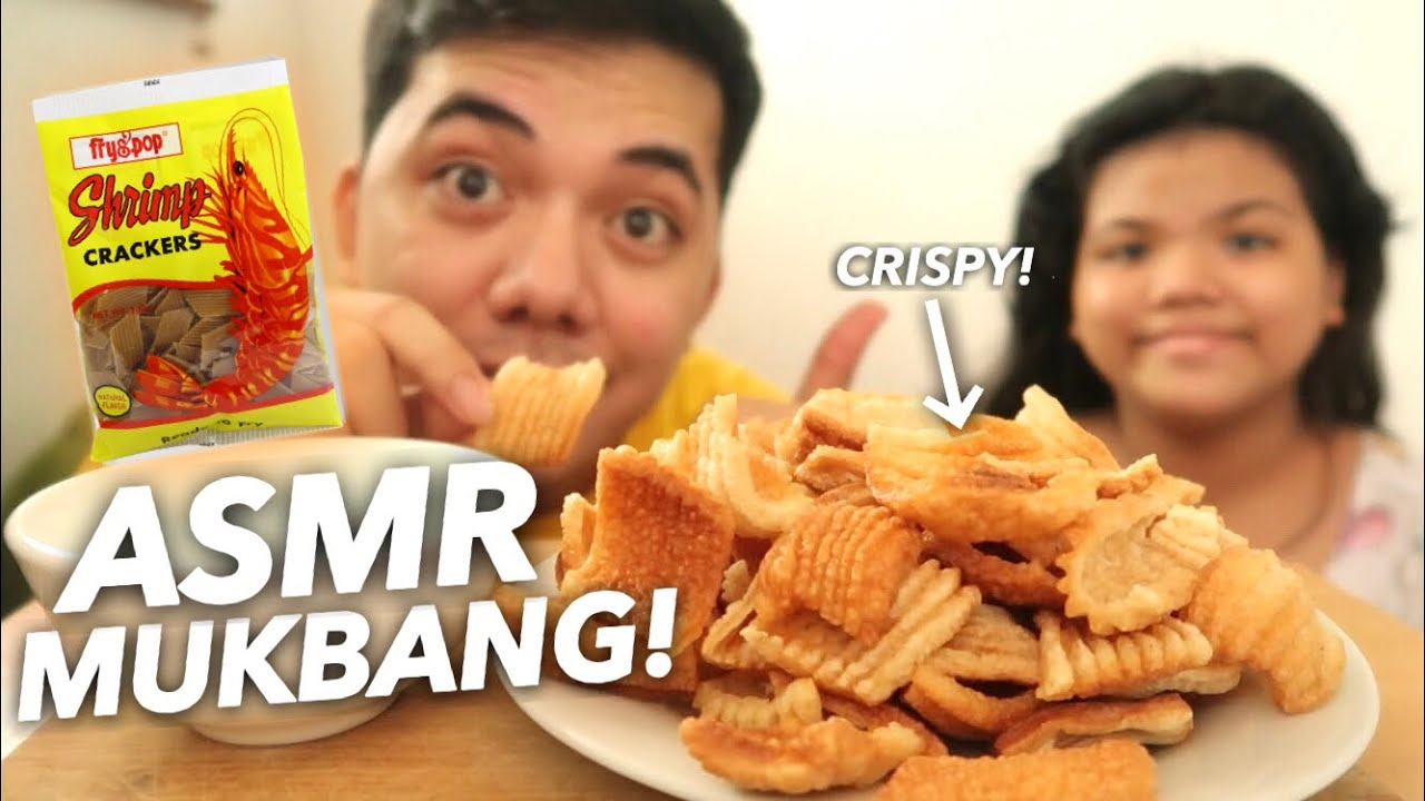 WE TRIED ASMR MUKBANG! CRISPY FRIED SHRIMP CRACKERS | Je Repelente