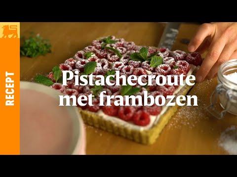 Pistachecroute met frambozen