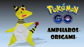 POKEMON ORIGAMI  AMPHAROS - video tutorial pokemon origami how to make oriigami pokemon diy origami.