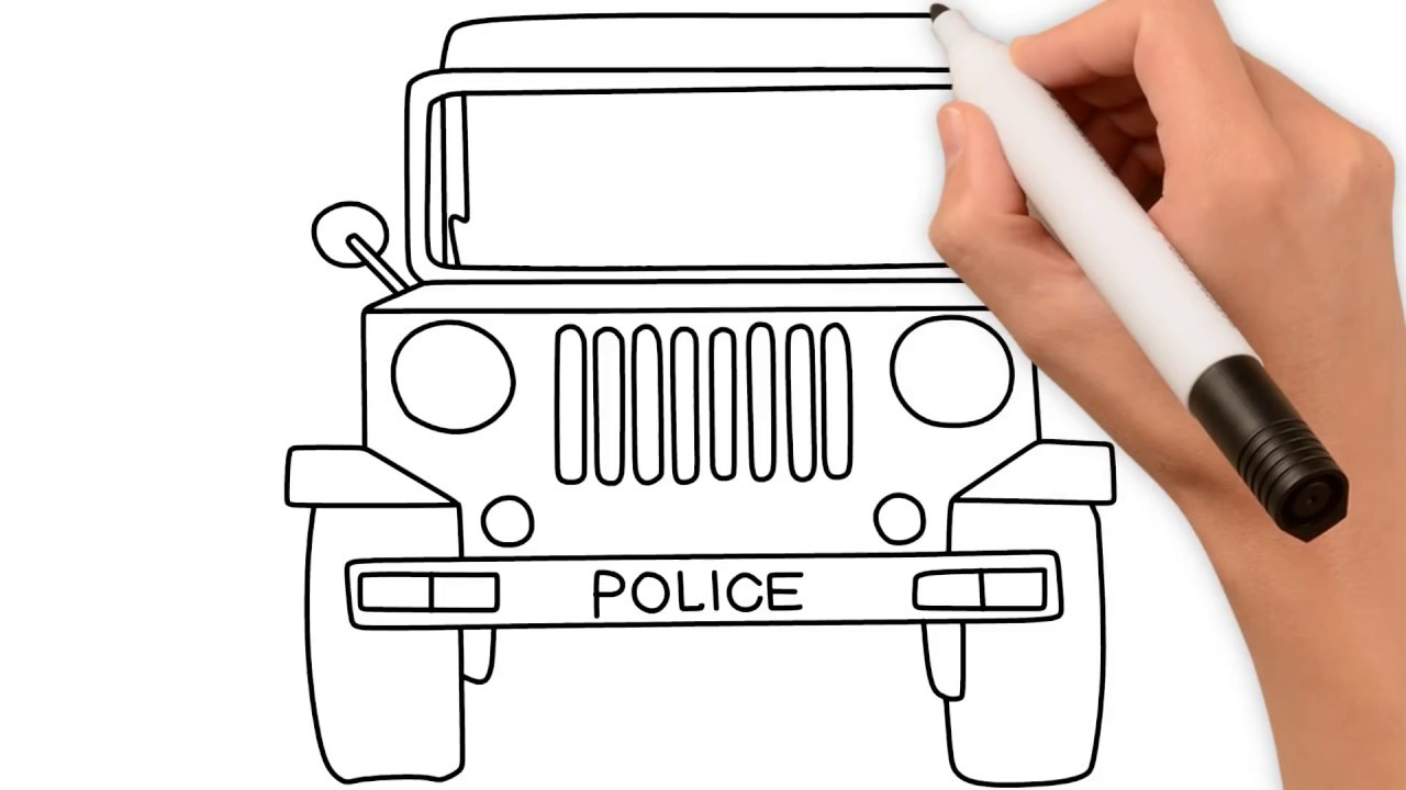 How To Draw Police Car Drawing Coloring Pages For Kids Ep 1 By Colorsma Youtube