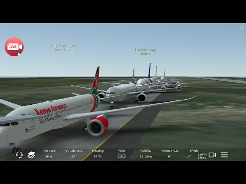 Infinite Flight Simulator's broadcast. Emirates Airlines. Boing 777-300ER.