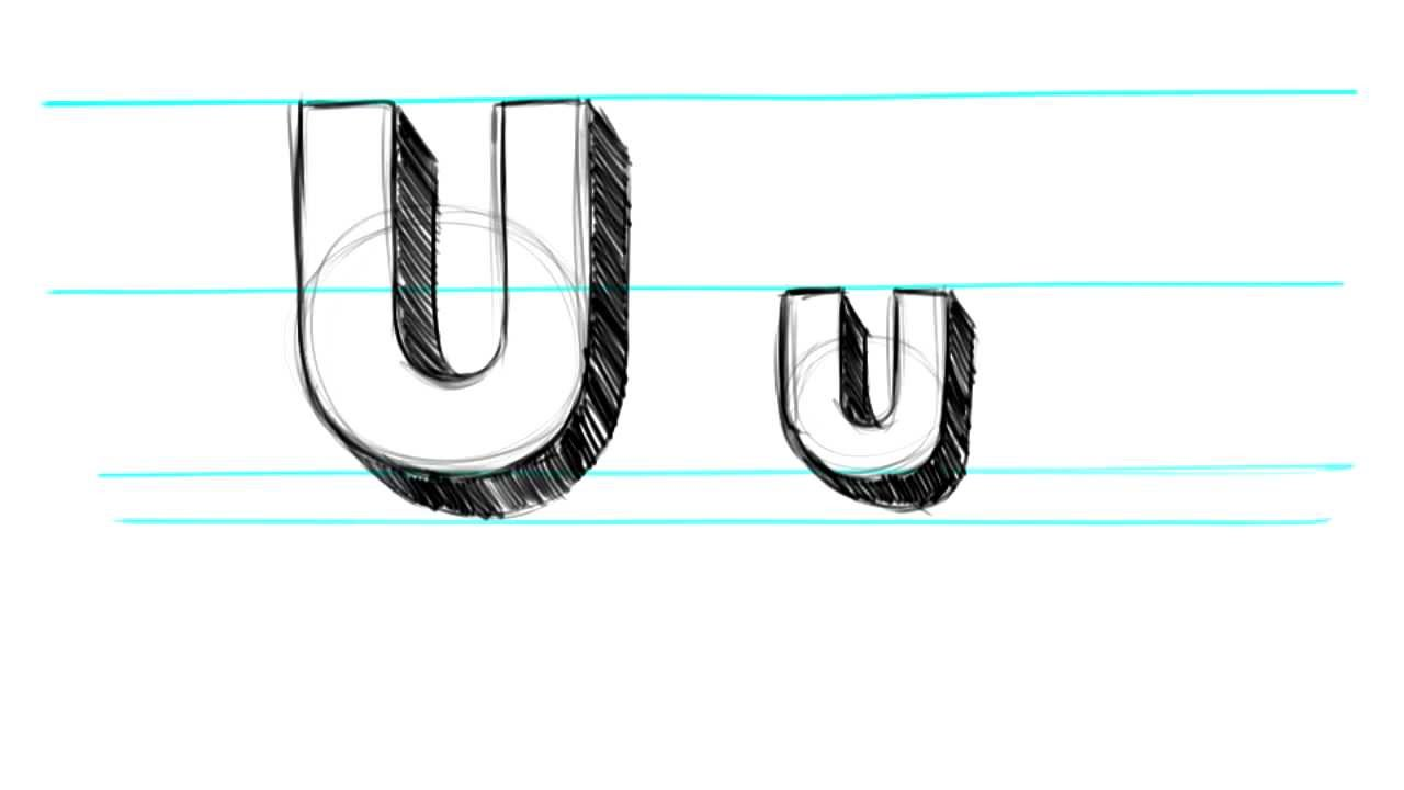 How To Draw 3d Letters U Uppercase U And Lowercase U In 90 Seconds