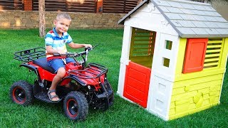 Funny Dima Unboxing And Assembling Red Quad Bike Ride On POWER WHEEL