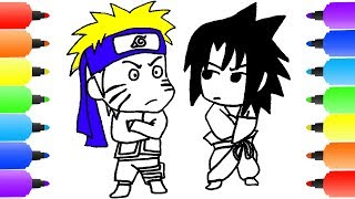 How to Draw Naruto and Sasuke   Art Colours for Kids with Colored Markers