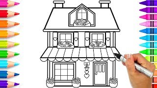 How to Draw a House for Kids Step by Step | Cute House Coloring Pages | Learn to Draw