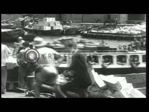 Jews flee to Israel as Egyptian aircraft raid the town of Tel Aviv. HD Stock Footage