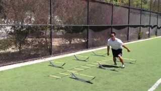 Footwork/Plyo Drills: Hurdle Squat Jump-Ladder Crossover | Sweat City Athletic Performance Training