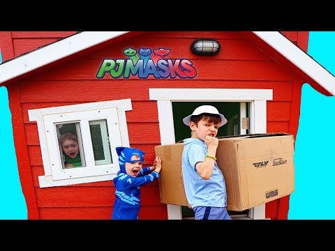 PJ Masks CATBOY Gets GIANT BOX! Mailman's Box in Huge Wooden Playhouse
